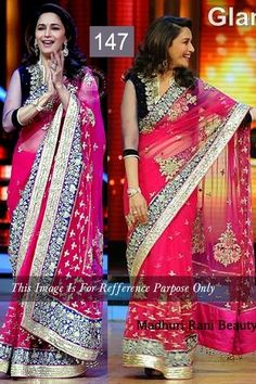 Madhuri Dixit In Dark Pink Saree On Jhalak Dikhhla Jaa Sets by Vendorvilla.com