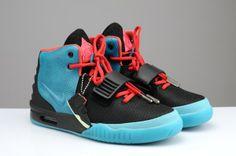2013 Nike Air Yeezy 2 South Beach Sneaker Black/Blue/Red Men's Shoes