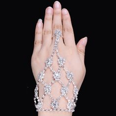 Wedding Bridal Luxury Bracelet With Finger //Get a 46% discount