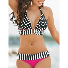Halter Polka Dot Strap Spliced Bikini Set