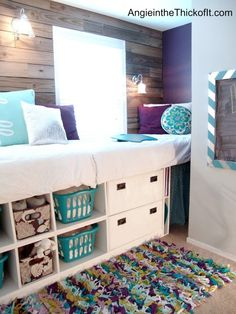 Double Wide Double High Day Bed: Compact guest quarters on 1 side of room like study great for teens to 30's. Could do lower for small tots/seniors.