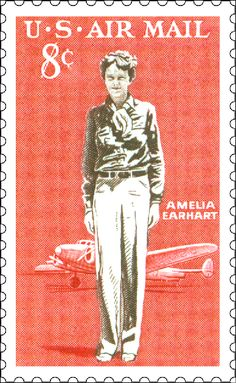 """LOVE. uspsstamps: """" 77 years ago today, Amelia Earhart began a flight from Honolulu to Oakland, California, becoming the first person to fly across the Pacific Ocean solo. This stamp was issued in 1963. """""""