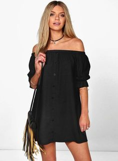 a790609594 GZDL Fashion Women s Chiffon Backless Button Dress Solid Three Quarter  Sleeve Sexy Off-Shoulder Slash Neck Shirt Dresses · Loose DressesBoho ...