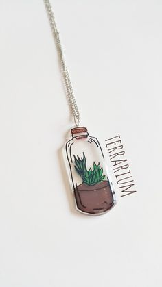 TERRARIUM Necklace Shrink Plastic Jewelry / Shrinky Dink Necklace – Funny Gifts (SKU: – Keep up with the times. Shrinky Dinks, Cute Jewelry, Jewelry Crafts, Shrink Plastic Jewelry, Shrink Art, Shrink Film, Terrarium Necklace, Acrylic Charms, Diy Pins