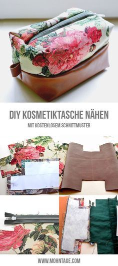 Sew on DIY cosmetic bag + sewing pattern and weekender - nähen Sewing Doll Clothes, Sewing Dolls, Diy Clothes, Bag Patterns To Sew, Sewing Patterns Free, Free Pattern, Free Sewing, Pattern Sewing, Sewing Hacks