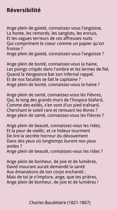 Réversibilité, Charles Baudelaire.