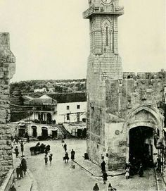 Jaffa Gate, taken from an interesting angle - looking out of the gate, instead of looking inside, Jerusalem,Palestine early 1920's, as the Ottoman Clock Tower is still standing.
