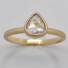 rose cut diamond stack ring