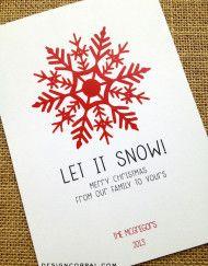 snowflake printable holiday card