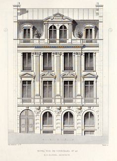 "archimaps: "" Elevation of a private residence on Rue de Courcelles, Paris """