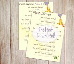 Pooh Bear Trivia Baby Shower Game, Printable Winnie the Pooh Baby Shower Game…