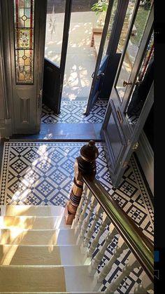 Hallway Ideas Entrance Narrow, Tiled Hallway, Hallway Flooring, House Entrance, Victorian Hallway Tiles, Edwardian Hallway, Narrow Entryway, Entry Stairs, Modern Hallway