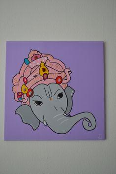 The spiritual elephant 60x60 (inclusief chakra stenen) - cadeau opening praktijk The Elephant -