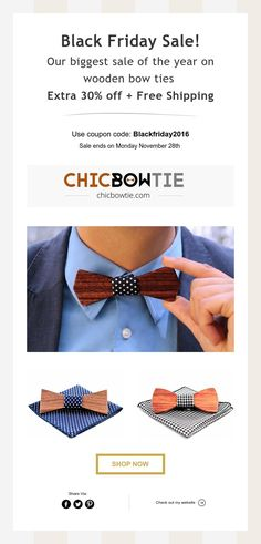 Black Friday Sale! Extra 30% off + Free Shipping Men Dress, Dress Up, Wooden Bow Tie, Cyber Monday Sales, 30th, Black Friday, Shop Now, Bows, Elegant