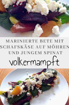Marinierte Bete mit Schafskäse auf Honigmöhren und jungem Spinat Der Herbst bringt wieder tolle Aromen und Farben auf den Tisch. Dieser Salat vereinigt zahlreiche von Ihnen. #beete #rotebete #gelbebete #herbstgericht