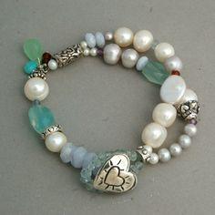 Beachglass Heart Bracelet