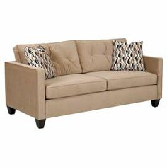 """Pairing classic style with versatile appeal, this cozy sleeper sofa is wrapped in tan upholstery and unfolds to accommodate an overnight guest.   Product: Sleeper sofaConstruction Material: Polyester, foam, and woodColor: TanFeatures:  Button-tuftedFolds out into a comfortable sleeperAccent pillows included Dimensions: 37"""" H x 76"""" W x 35"""" D"""