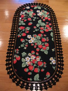 Aunt Roo's Strawberry Timeless Treasures fabric table runner (reverse HALLOWEEN Bell Knobs and Broomsticks) w/ crocheted edging...