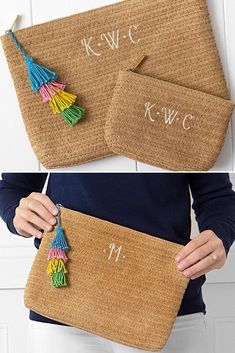 Summery women's straw clutch set features large clutch with colorful tassel and small clutch, both personalized with three initials or a large single initial. Bridesmaid Gifts, Bridesmaids, On Your Wedding Day, Maid Of Honor, Pens, Clutches, Initials, Tassels, Reusable Tote Bags