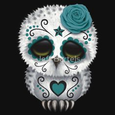 """Cute Teal Blue Day of the Dead Sugar Skull Owl"" by Jeff Bartels"