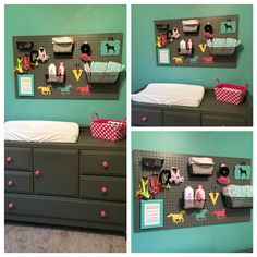 Pegboard Nursery Decor: I love the idea of doing a pegboard above a changing table. It makes grabbing things so much easier. I made this one, painted it gray to match the changing table I had painted gray and I also painted the horses on at the bottom. Everything else is just hanging on there with peg hooks. Definitely one of my favorite DIY projects.