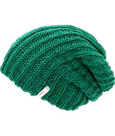 A thick textured ribbed knit construction in an emerald colorway provides a bright and comfortable accent to any look.