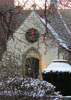 Marquette University's St. Joan of Arc Chapel after snowfall.