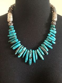 Primitive Style Turquoise Spike and Tibet/Nepal Bone Beads Necklace