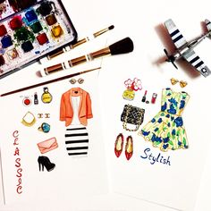Stylish + Classic #art #watercolor #chanel #fashion #dress #perfume ##heels #bag #shoes #ring #shimonastudio