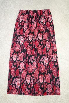 20e5b0127 Metropolitan New York 10001 Long Maxi Floral Black & Pink Crinkled Skirt  Size M #