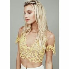 For Love and Lemons Luau Crop Top Primrose Delicate yellow lace on a nude mesh material For Love and Lemons Tops Crop Tops