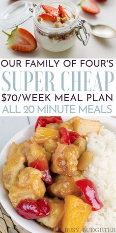 Basically the is a meal plan on a budget - they list the grocery prices for the meal plan and for less than $70 dollars a week, you can feed your family of four breakfast, lunch and dinner. They do a lot of chicken stir fry's so that the dinners are easy to make (less than 20 minute meals). Great source for easy dinner ideas and cheap and easy meal plans for beginners. #easydinners #chickenstirfry #mealplan Budget Meal Planning, Cooking On A Budget, Frugal Meals, Easy Meals, Healthy Breakfast Recipes, Healthy Recipes, Healthy Foods, Cooking Recipes, Easy Meal Plans