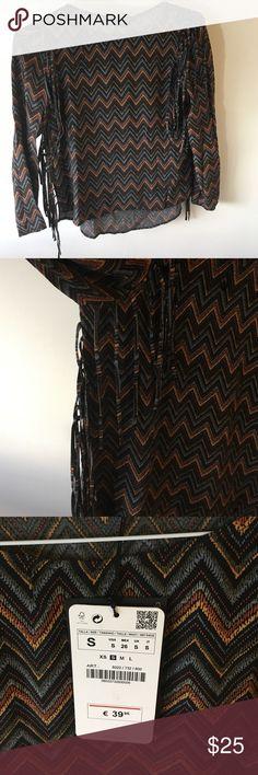 Fringe retro Zara top Retro style Zara top. Fringe on the sides. Never been worn, bought in Barcelona. Zara Tops Blouses