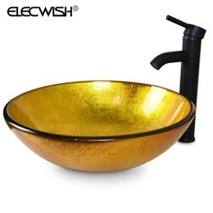 Bathroom Sink Gold Oval Artistic Tempered Glass Sinks Modern Vanity Sink Bowls Counter Top Basin With Chrome Pop-up Drain