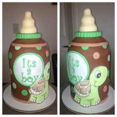 Baby Bottle Baby Shower Cake to go along with the Turtle Baby Shower Cake
