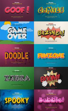Cartoon Text Effects Action Текст Типографика шрифт font Graphic Design Books, Text Design, Typography Logo, Graphic Design Typography, Book Design, Cartoon Font, Cartoon Design, Photoshop Design, Typography Inspiration