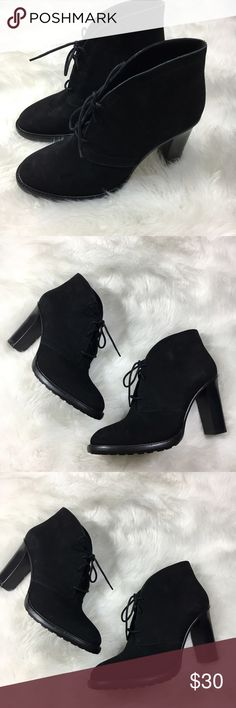 "Vince Camuto Lehanna Suede leather Bootie Lace Up Like new! 31/2"" heel; 3 1/2"" shaft  Lace-up style. Leather upper/synthetic lining and sole. Vince Camuto Shoes Lace Up Boots"