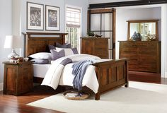 Amish Campbell Mission Five Piece Bedroom Set Gorgeous solid wood mission style bedroom set includes bed, nightstand, dresser, chest of drawers and mirror. Customize it your way. You select wood, finish, hardware and luxury features like touch lighting, felt lining, power station and more. #bedroomset #bedroomsets #bedroom #bedroomfurniture #5piecebedroom