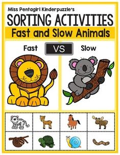 Sorting Activities Posters and Worksheets Fast and Slow Animals Animal Activities For Kids, Activity Sheets For Kids, English Activities, Sorting Activities, Kindergarten Activities, Preschool Activities, Animal Worksheets, Worksheets For Kids, Opposites Preschool