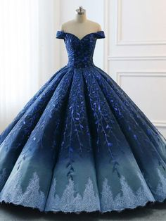 adaab89142e Navy Lace Applique Off Shoulder Ball Gown Princess Prom Dresses The prom  dress is fully lined