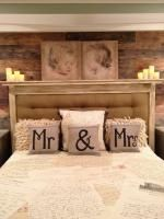 These pillows are so cute for a master bedroom.