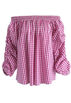 Gingham Channel Off-shoulder Top in Hot Pink- New Arrivals - Retro, Indie and Unique Fashion