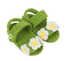 Smile YKK Strick Schuh Baby Unisex Strickschuh süße Stil One-Size 11cm Blüte Deko Grün - http://on-line-kaufen.de/smile-ykk/smile-ykk-strick-schuh-baby-unisex-strickschuh-6