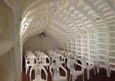 chapel out of plastic chairs .