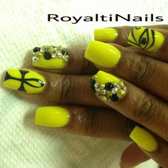 Neon Nails #Ankh #Coffin nails