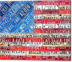 "This weekend only: Celebrate the 4th of July in style with this massive 40"" x 30"" wrapped canvas print featuring my recycled American Flag artwork. Made using vintage license plates from different 13 states! Limited edition of 25 prints at greatly reduced price from my partners at FineArtAmerica. Great conversation-starting wall decor for cottages, businesses, restaurants and vacation homes."