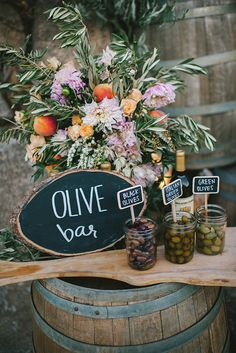 If you're having an Italian wedding theme, may love the idea of using olive wedding confetti and olive leaves throughout your wedding day. Italian Wedding Themes, Italian Themed Parties, Greek Wedding Theme, Tuscan Wedding, Rustic Wedding, Beer Wedding, Wedding Country, Trendy Wedding, Olive Bar