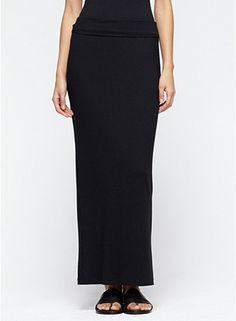 Plus Size Fold-Over Maxi Skirt in Viscose Jersey