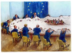 Luc Vernimmen New taboo: What about immigration? migration in Europe Closed Eyes, Political Cartoons, Our World, Caricature, Illustration, Painting, European Council, Treats, Humor