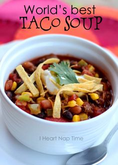 World's best taco soup. This is a ONE pot dish and is less than 300 calories per bowl! Yummy and so easy in the crock pot--subbed meat with Morningstar crumbles and was impressed they held up well!